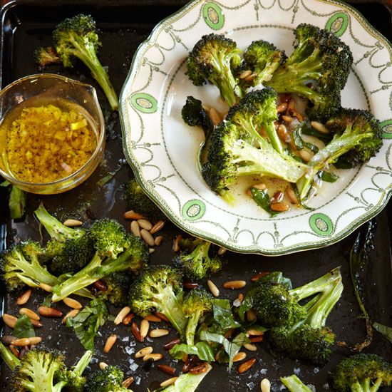 Roasted Broccoli with Lemon, Pine Nuts and Basil