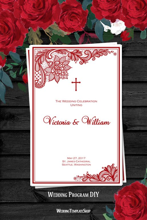 Red Vintage Lace, Catholic Wedding Program, DIY Order of Service Printable Templates.