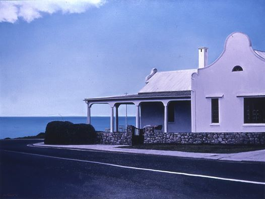 Photo: This is a painting of one of those wonderful holiday houses in Hermanus occupying a key position over-looking Walker Bay. Of course this building has long been demolished only to be replaced with a block of apartments. 'Skande!' It was on Marine Drive on the corner opposite the Marine hotel. It  was called Schoongezicht and built by P. John Luyt the 'Father of Hermanus'.
