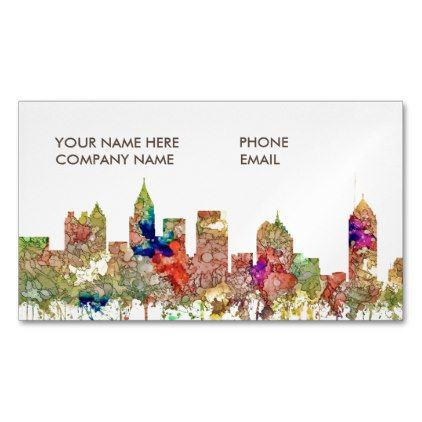 Atlanta Georgia Skyline SG-Faded Glory Magnetic Business Card - professional gifts custom personal diy