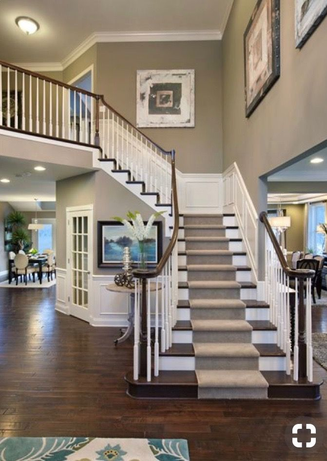 Carpet runner down stairs   New homes, House, Staircase design