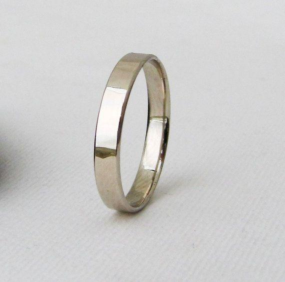 Women's Wedding Band White Gold Wedding Ring 14k by GoldSmack