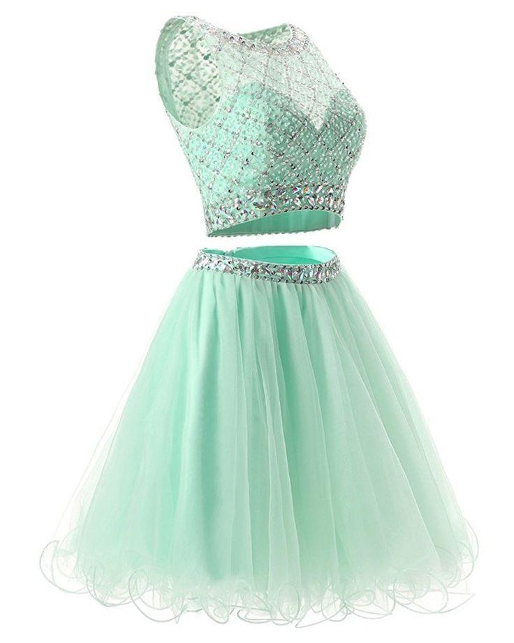 Mint Green Gradation Dresses De Festa Curto De Luxo Two Piece Homecoming Dress