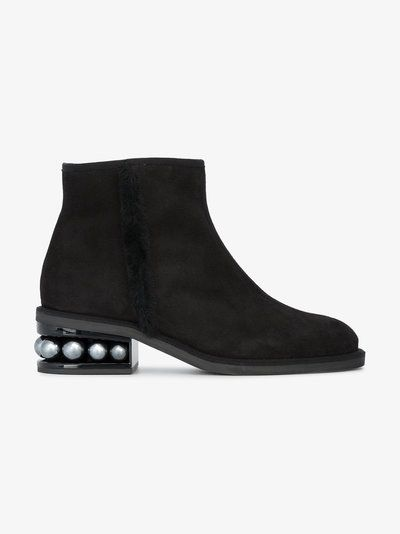 Nicholas Kirkwood Casati Pearl Biker Ankle Boots Black Womanattractive price The Most Fashion Designs