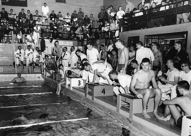 Swim meet 1958 by michigan state university archives via - University of michigan swimming pool ...