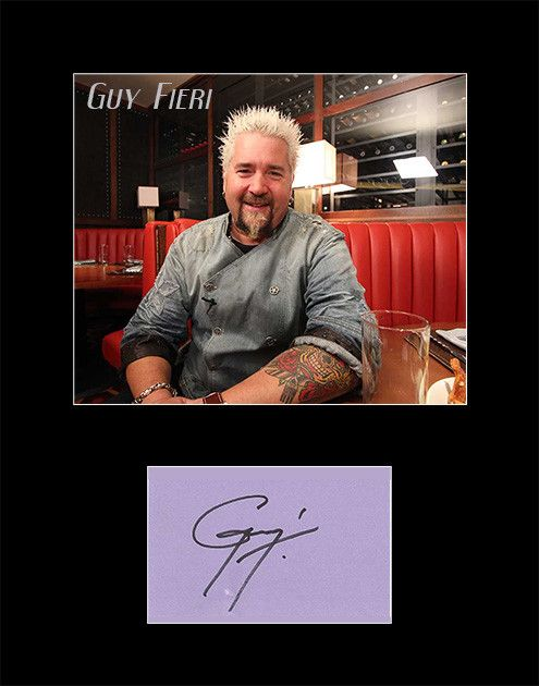 Framed and Matted Celebrity Chef Guy Fieri Signed Autograph and Photo - comes with certificate of authenticity. Fieri is a restaurateur, author, game host, and television personality currently working