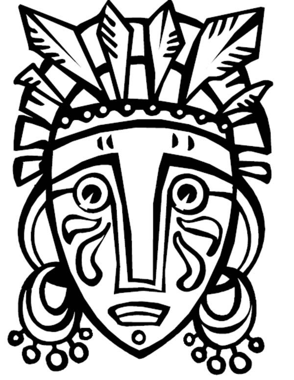 lots of ideas for boys to paint their paper mache masks!! Traditional African Mask for Holiday Kwanzaa Coloring Page