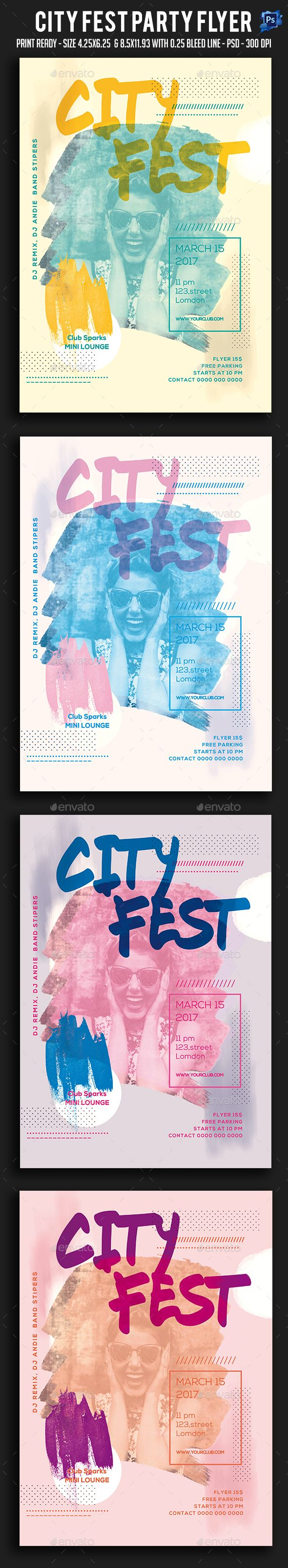 City Fest Party Flyer Template PSD