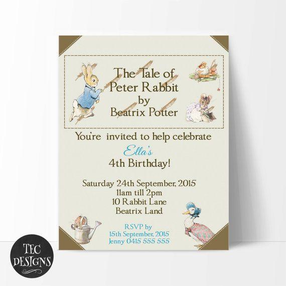 Beatrix Potter's Peter Rabbit Invitation Birthday by TECDesigns