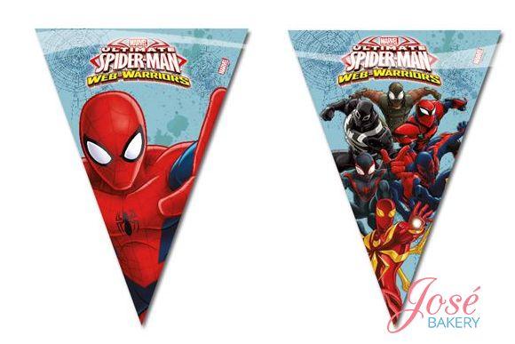 Spiderman vlaggenlijn bestellen? Versier de zaal met een Spiderman vlaggenlijn en maak het feestje spinachtig leuk! Bestel nu ookSpiderman borden, Spiderman servetten en/ofSpiderman bekers! #spiderman #josebakery #feestartikelen
