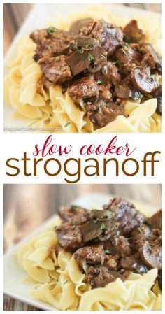 Slow Cooker Stroganoff Recipe I love easy comfort food recipes like this-so easy for weeknight dinner too!!