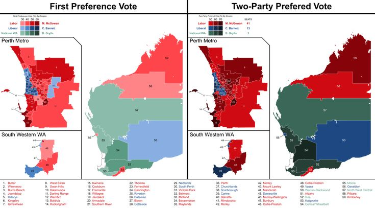 2017 Western Australian state election - results by division