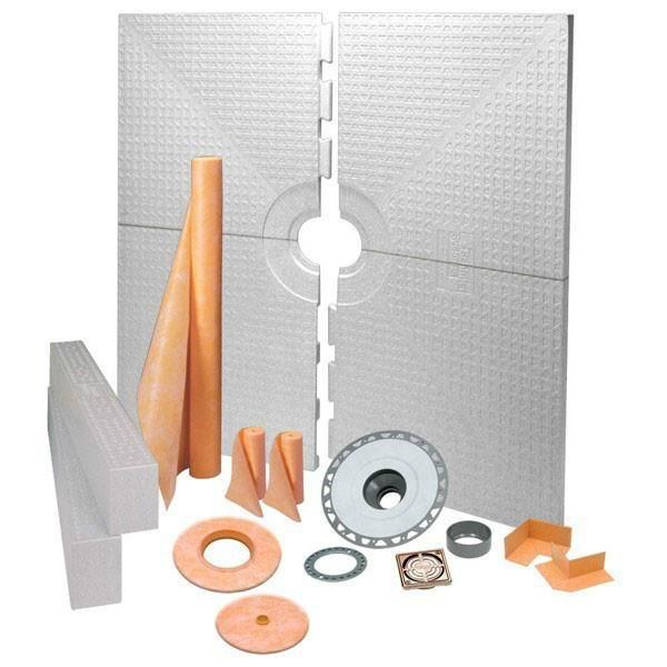 Schluter Kerdi Shower Kit Center Drain Tray Brushed Bronze Anodized Aluminum Pvc Flange 72x72