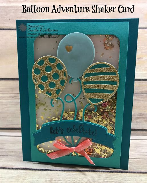 Just Sponge It: Balloon Adventure Shaker Card, Balloon Adventure Bundle, Window Sheets, Sprinkles Embellishments, Mica Flakes, Cupcakes & Carousels Embellishment Kit, Gold Glitter, Gold Glimmer Paper, Balloon Bouquet Punch, Big Shot, Foam Adhesive Strips, Birthday, Stampin' Up!, DIY