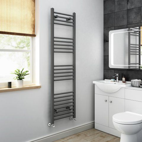 1600x450mm - 20mm Tubes - Anthracite Heated Straight Rail Ladder [PT-NA1600450] - £129.99 : Platinum Taps & Bathrooms