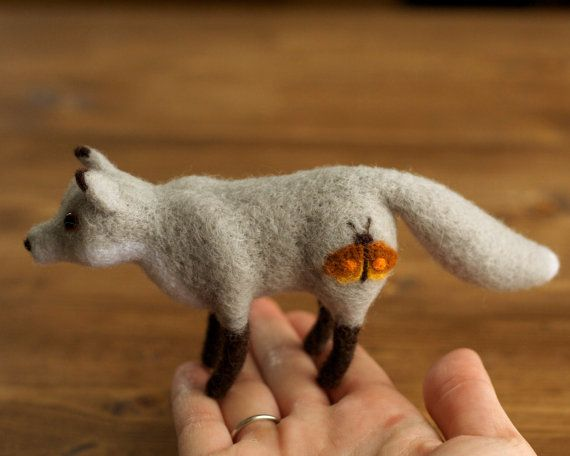 Needle Felted Grey Fox with Rust Orange Moth Soft Sculpture, Autumn, Fall, Winter, Silver Fox, Home decor, Woodland Animal, Miniature Fox