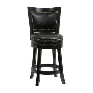Boraam 24 in. Bristol Leather Swivel Counter Stool