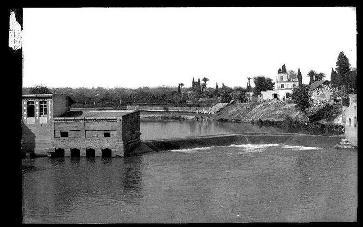 Vista del río Segura a su paso por el azud de los molinos del Malecón, en Murcia  Fecha inicial:  c. 1915