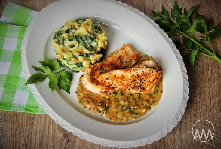V kuchyni vždy otevřeno ...: Kuřecí s libečkovou omáčkou a šťouchačky se špenátem