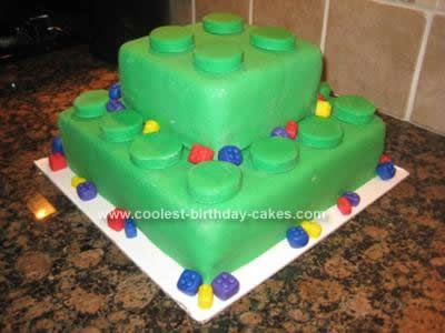 "Homemade Lego Birthday Cake Idea: This Lego Birthday Cake Idea uses two 10"" square cakes stacked and two 6"" square cakes stacked; they are both covered in green fondant. To make the Lego"