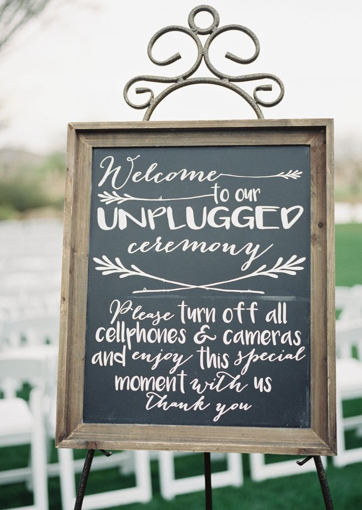 Trilogy at Vistancia Wedding | 'Welcome to our unplugged ceremony. Please turn off all cellphones & cameras and enjoy this special moment with us. Thank you.' sign for a technology free ceremony | www.weddingsatvistancia.com | Leslie D. Photography