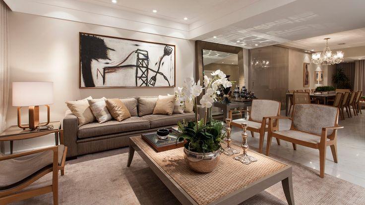 Salas de estar, jantar, tv, bate papo e varanda decoradas com cor fendi e elementos madeirados! - Decor Salteado - Blog de Decoração e Arquitetura