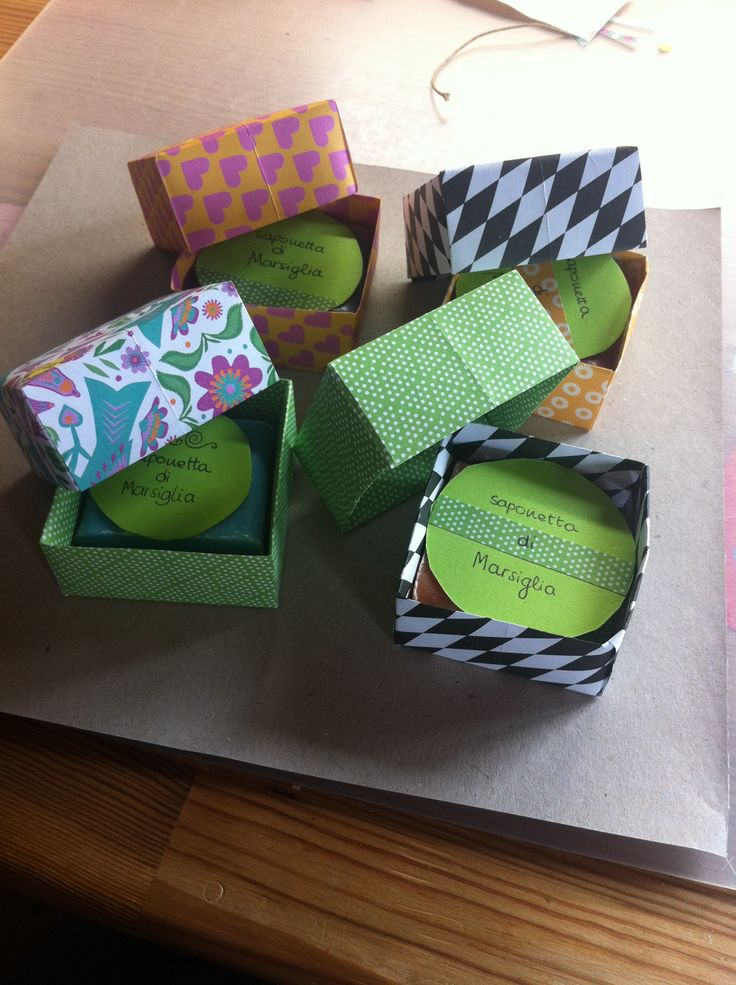 paper boxes with soap inside, handmade  (paper by Tiger store)
