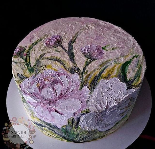 Painted buttercream flower cake
