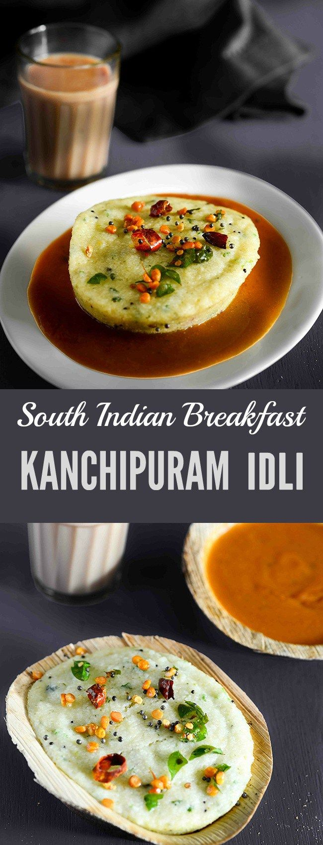 Kanchipuram Idli is almost like a masala Idli with a distinct flavour of cumin seeds , dry ginger, and black pepper. Another thing that adds to the flavour of Kanchipuram Idli is that it is steamed in dried mandharai leaves which adds a woody flavour. It is a South Indian breakfast with a slight variation from regular soft Idli, the texture of Kanchipuram Idli is also little denser than regular Idli