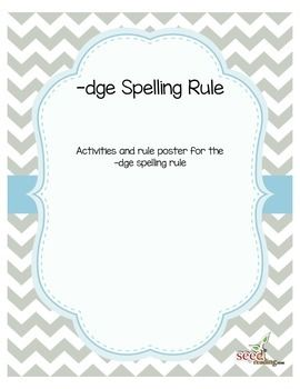 How do you spell words that end in a /j/ sound?  This is a tough one for many students, these activities and rule poster will help students remember and apply this rule when reading and spelling. Awesome complement to Orton-Gillingham lessons, Wilson, Barton and LiPS.