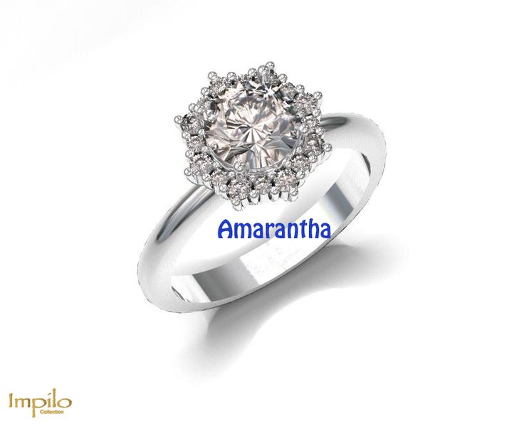 """""""Amarantha"""" - Round brilliant cut diamond, surrounded by small diamonds, with a polished round band."""