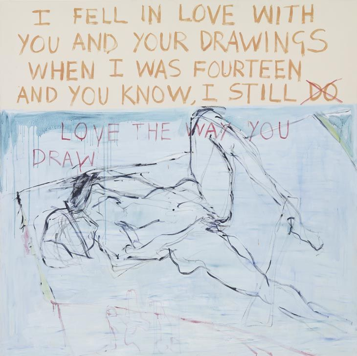 Tracey Emin  Exorcism of the Last Painting I Ever Made (detail) 1996 Installation details of 14 paintings from a total of 97 works.  In 1974, Joseph Beuys did a performance called I Love America, and America Loves Me where he lived in a gallery with a wild coyote for seven days as a symbolic act of reconciliation with nature. In 1996, Tracey Emin lived in a locked room in a gallery for fourteen days, with nothing but a lot of empty canvases and art materials, in an attempt to reconcile…