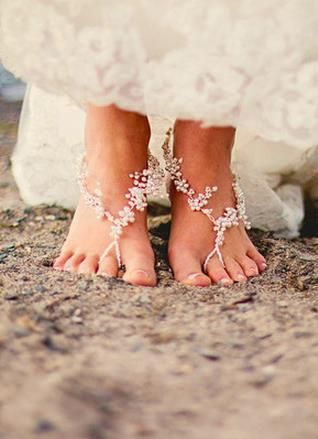 Barely there shoes for beach brides. So sweet! {Our Two Hearts}