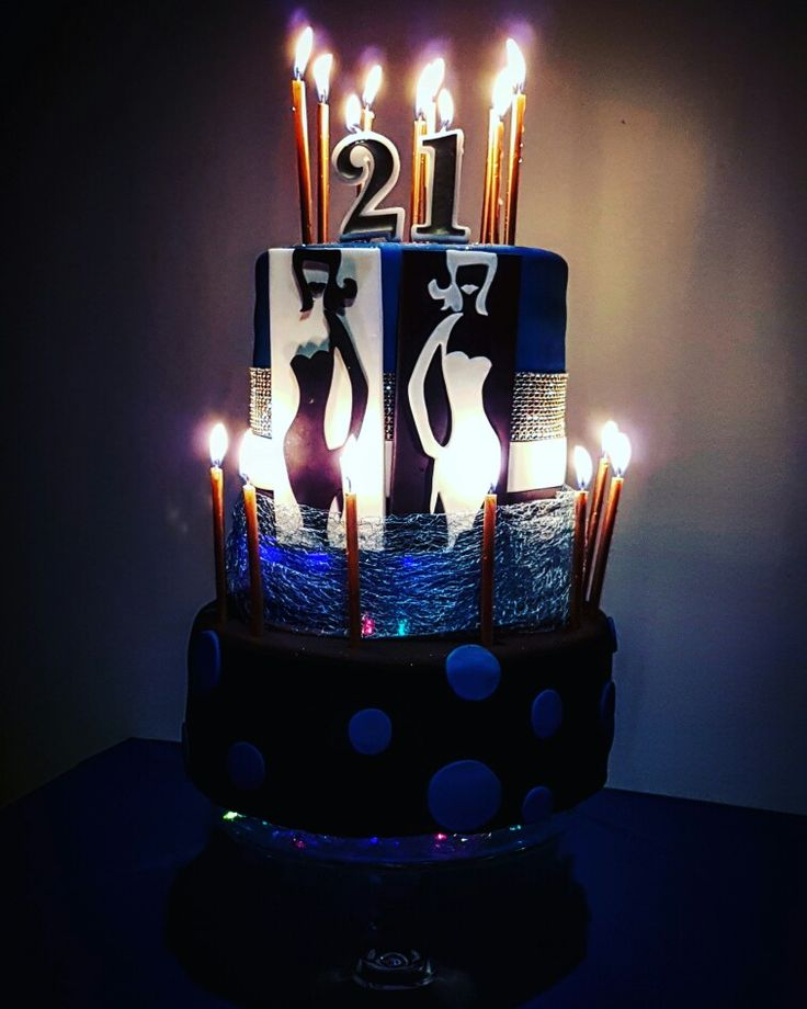 21st birthday cake with twinkle lights for twin girls. Motif from colourbox.