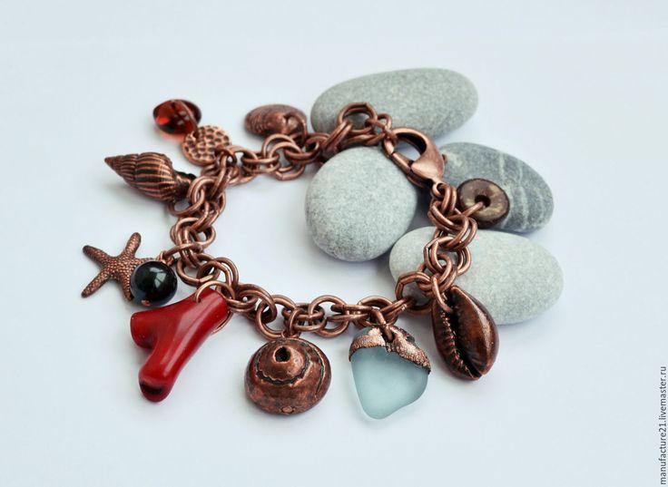 """Купить Браслет """"Дикий пляж"""" медь - комбинированный, Татьяна Алексеенко, авторский браслет, морской браслет"""