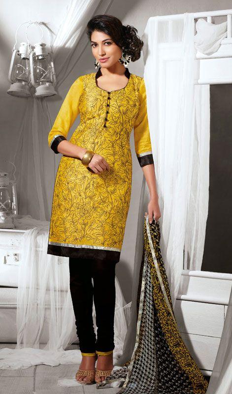 Black and Yellow Cotton Silk Chudidar Suit Price: Usa Dollar $98, British UK Pound £58, Euro73, Canada CA$106 , Indian Rs5292.