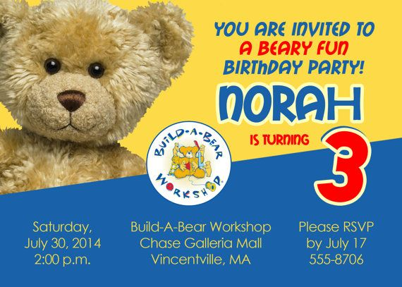55cca3d58f7 Printable Build A Bear Birthday Party Invitation - Print your own  BuildABear Workshop Invitation 5x7 Size DIY