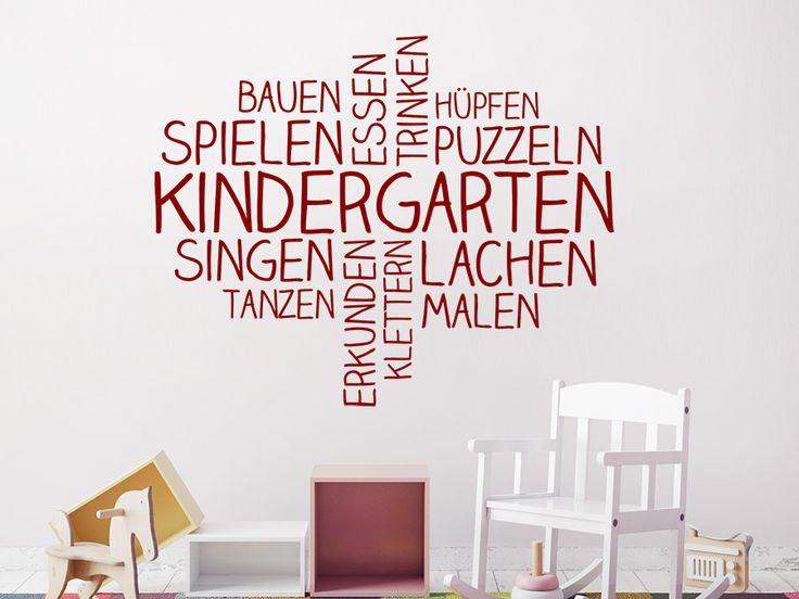 Wortwolken Wandtattoo Kindergarten in roter Farbe