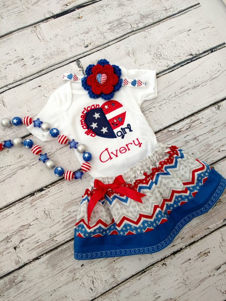 Girls patriotic outfit - 4'th of July outfit - red, white, and blue outfit by FrederickFancies on Etsy