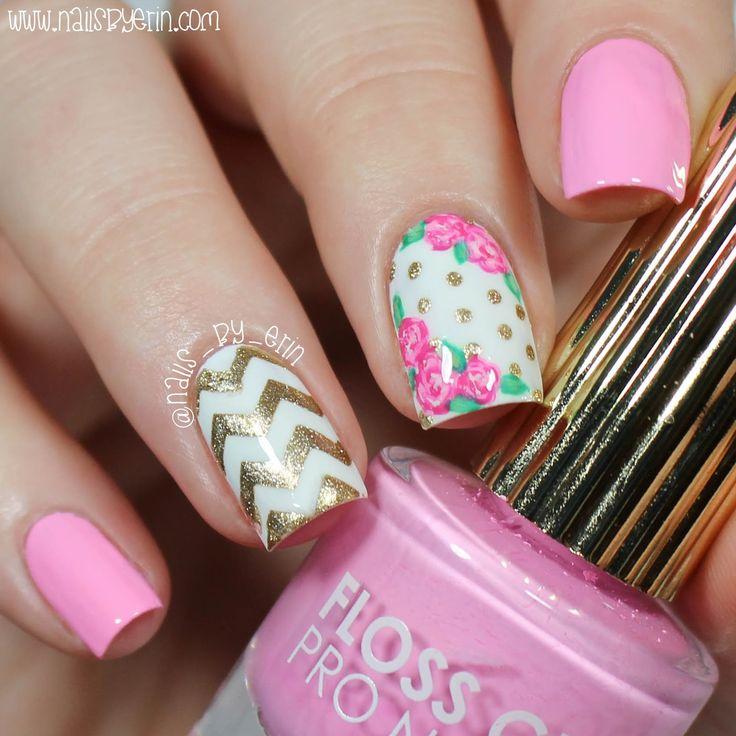 NailsByErin: Pink and Gold Floral Nails