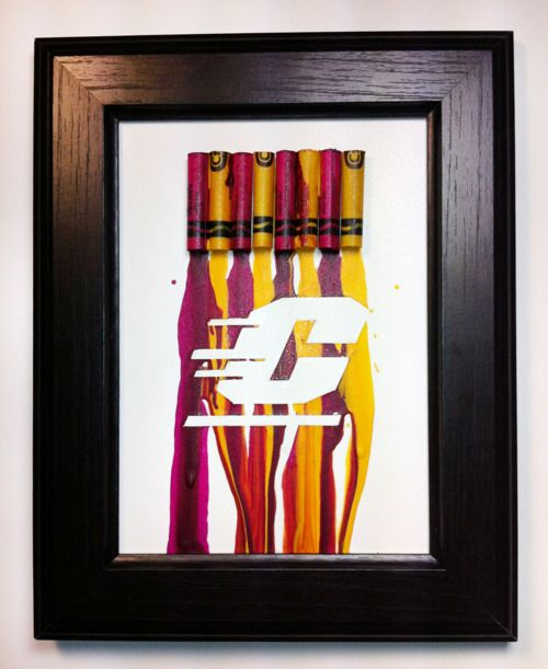 """Melted Crayon Art - Central Michigan """"C"""""""