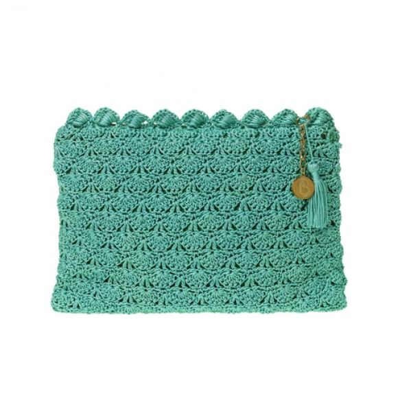 Jade crochet clutch bag