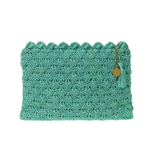 Jade crochet clutch bag