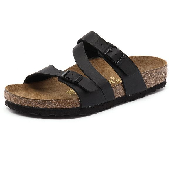 Birkenstock Salina Black Birko-Flor ($100) ❤ liked on Polyvore featuring shoes, leather lined shoes, fleece-lined shoes, black leather shoes, black strappy shoes and strappy shoes
