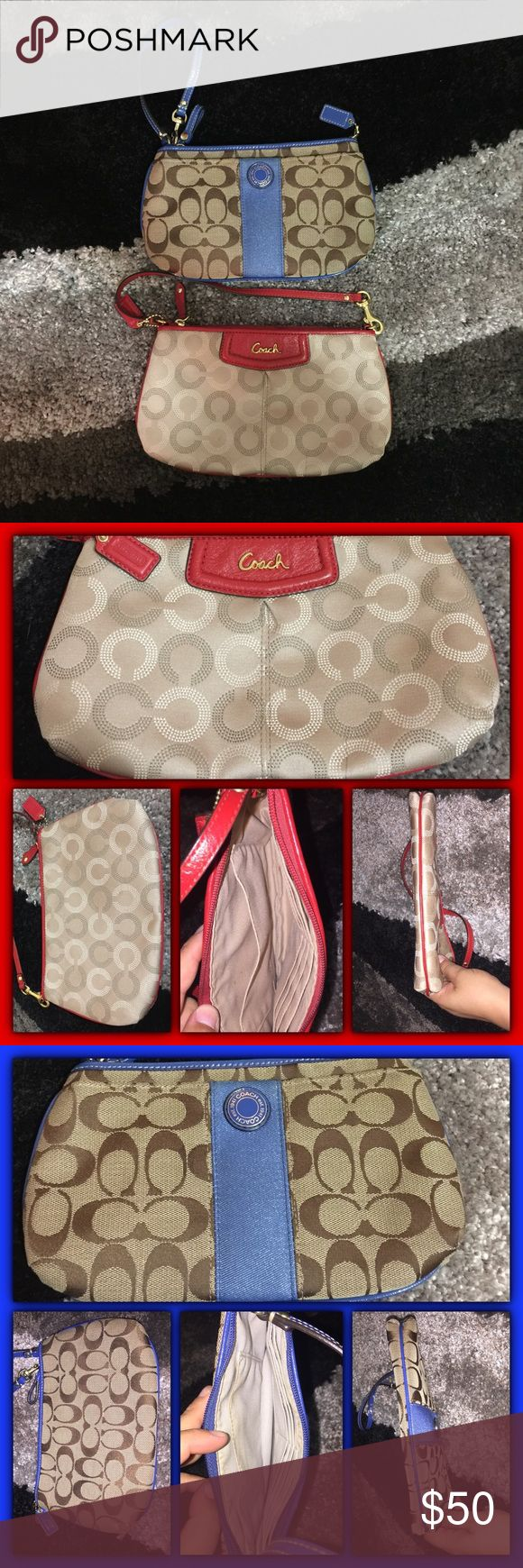 Coach wristlets Two Coach wristlets, one in red and one in blue... in good condition, clean outside and inside... 💯 authentic, purchased at a Coach Shop... Coach Bags Clutches & Wristlets