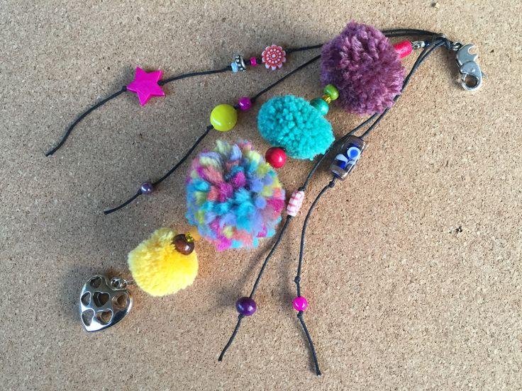 Pom Pom key chain /key chain boho / pom pom bag charm /key chain boho / gypsy beach bag charm /gift key charm/ key chain boho tassel by BelaCiganaBags on Etsy
