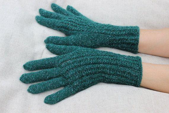 Hand Knitted Gloves dark emerald green  Elegant Arm by DriadaD