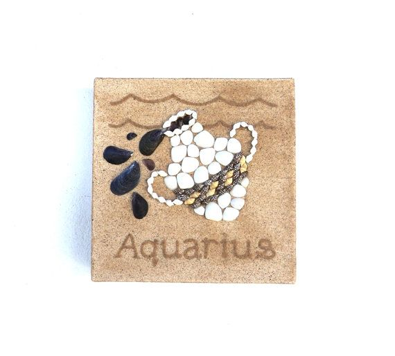 Aquarius Star Sign, Seashell Mosaic on Sand, Artwork with Seashells and Sand, Mosaic Art, 3D Art Collage, Wall Art Decor, Gift Idea #ArtworkwithSeashells #mosaiccollage #seashellmosaic #homedecor #walldecor #3D