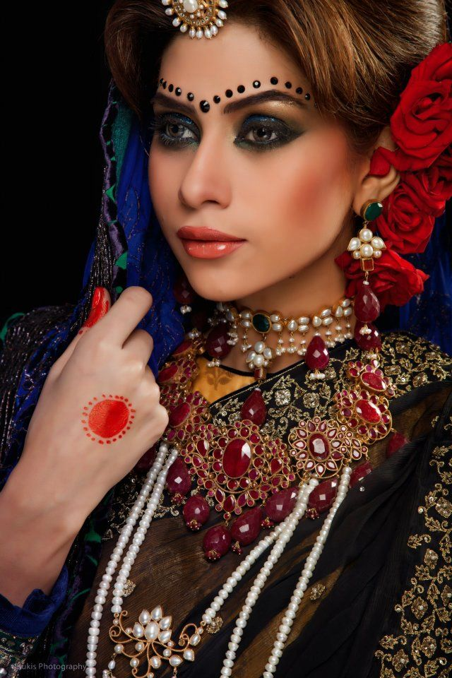 Depilex shoot Pakistani Bridal Couture | Earrings & necklace in real precious stones will look much better