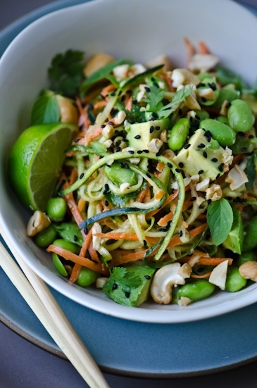 Thai peanut zucchini noodles - From http://pinterest.com/pin/221731981626485663/